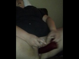 Solo dildo action with my sexy bbw wife.