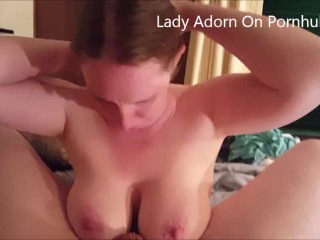 Hot Ginger Wife with Big Tits sucks and swallows cum !!