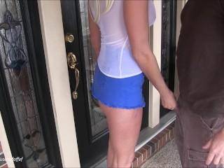 Horny MILF sucks and fucks delivery guy