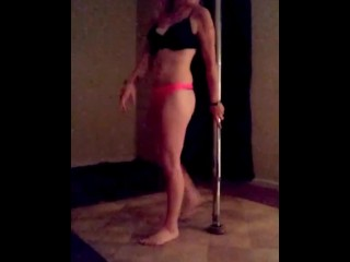 hot blonde takes the pole to some oldie but goodies