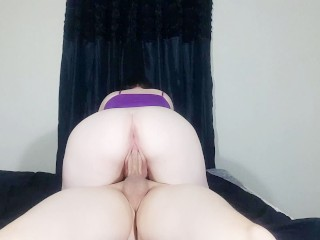Pale Pierced Brunette with Big Ass Rides BF and Swallows Cum - SlinkySex