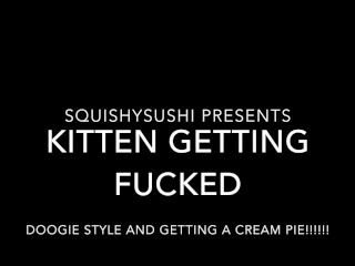 Kitten getting fucked doggie style and getting a CREAM PIE!!!!!
