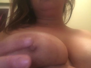 Playing with my big titties before I shower