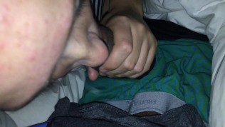 White Teen Sucks Cock While Parents Are Sleeping and Swallows - KittenDaddy