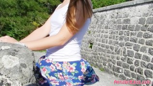 Windy Upskirt and No Panties in Public