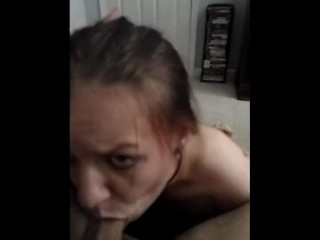 Sir letting me earn my collar! Sexy milf sub sucks and gags on daddys cock.
