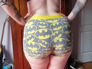 Sweltering Tattooed goth slut showing her Batman Boxers