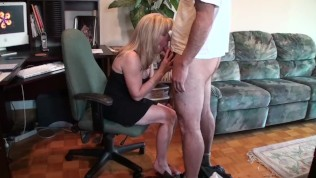 Mature Blonde Sucks and...