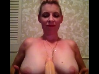 Nicki Skylar takes a dildo between her tits and deep in her throat!