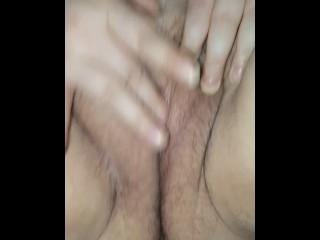 BBW friend fingering her hairy pussy