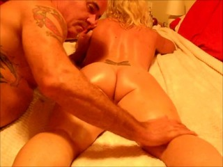 Milf gets rough anal fuck and cums.