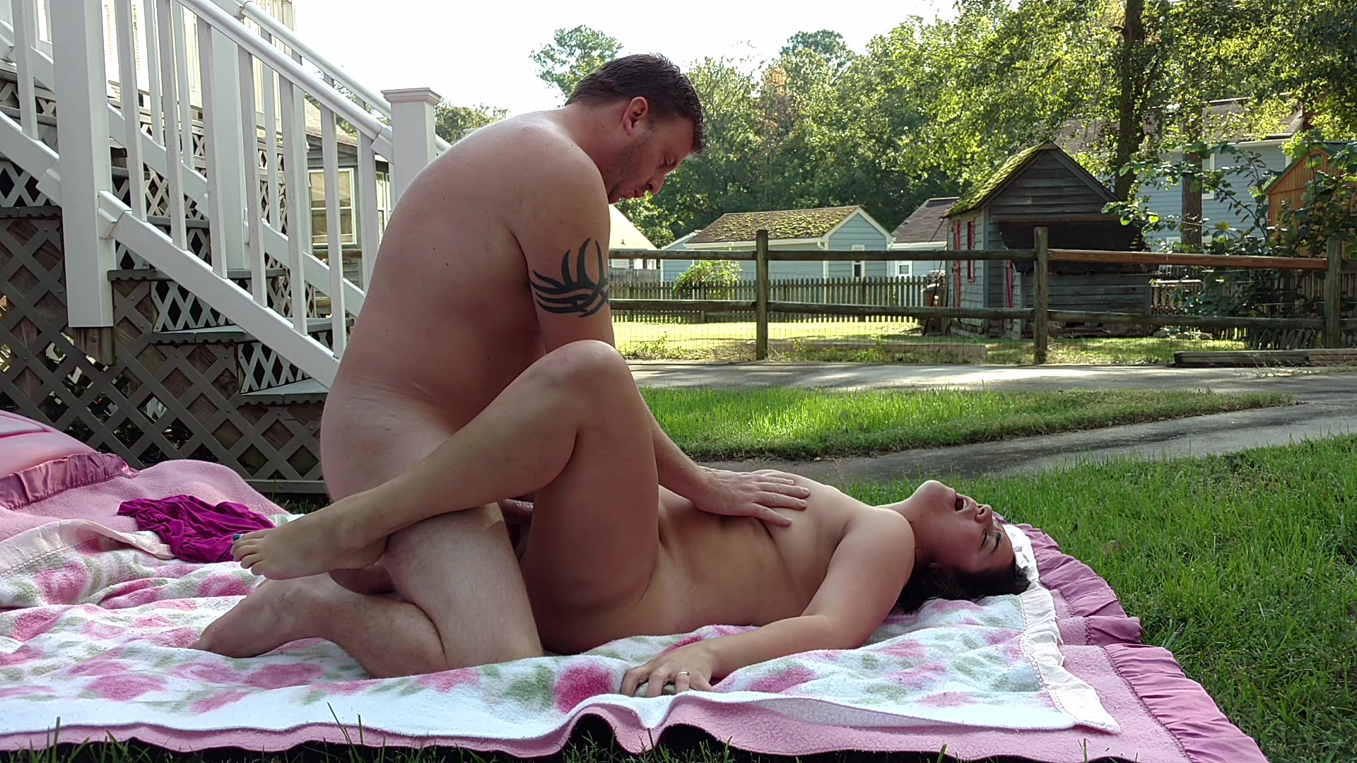 Amateur couple having passionate outdoor sex....