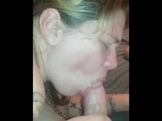 Brunette Sucks Cock & Swallows Cum