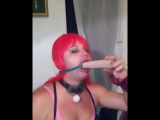 Anew sloppy deep throating dildo practice so i can be redy to get face fuck