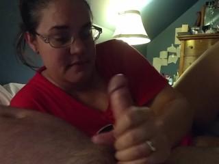 Amateur Milf jerks, sucks, and fucks husband s dick till he cums...