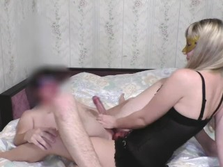Homemade gorgeous pegging with 3 times prostate slippery orgasms!