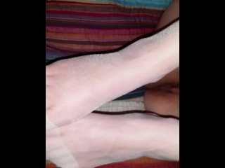 Female/nylon/wife blue in vibrator toes