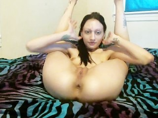 Fingering with Legs Behind Head