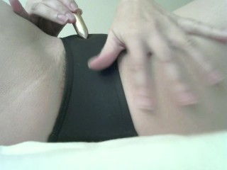 Making Hairy Pussy Wet with Vibrator Through Panties