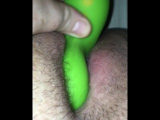 Closeup toying my tight creamy pussy