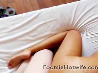 Young wife with beautiful feet being banged from behind in hotel room