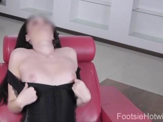 Sexy young brunette masturbates