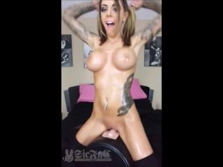 Oiled-up TEEN Karma Rx on Sybian Sex Machine–Big Orgasm