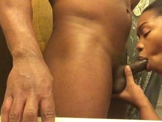 Husband Listening While Wife Is Sucking Dick In  Bathroom