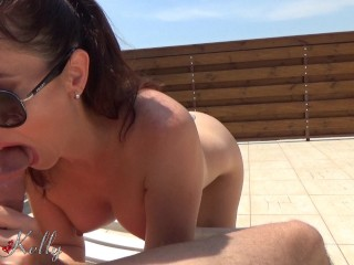 Amateur wife homemade outdoor blowjob and oily handjob with huge cumshot