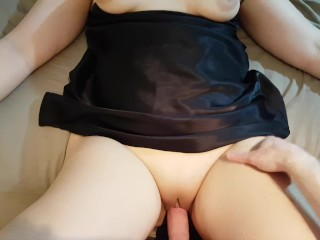 WIFE MULTIPLE ORGASM, FUCKING ON EDGE OF BED AND THEN DOGGY STYLE CREAMPIE