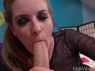 Mark White- Ela Darling sucks huge cock in POV blowjob with huge Facial