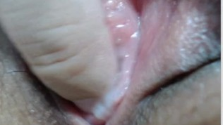 Extreme close-up of a wet virgin pussy......