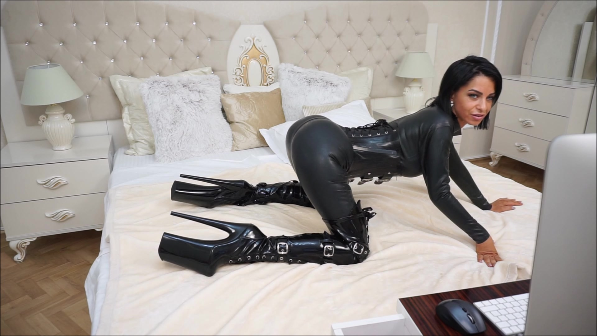Anisyia Livejasmin Full Latex Bodysuit Extreme High Heels -6774