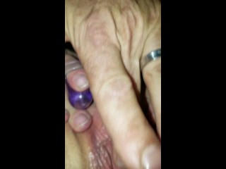 sexy pussy masturbating with vibrator and body wand with cum