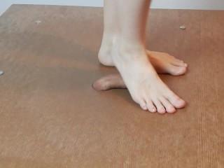 Footjob with cockcrush dancing, humiliation, singing and cumshot