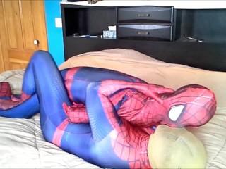 masked spiderman struggles against spiderman