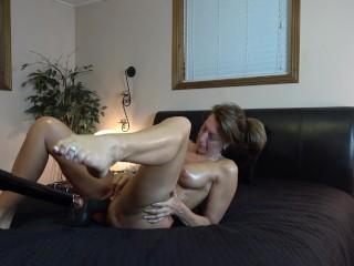 SEXY WIFE MISSIONARY FUCKS THICK DILDO MACHINE-LEGS UP ORGASMS