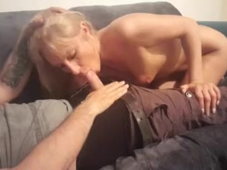 Erotic whore provides dirty blow process on settee
