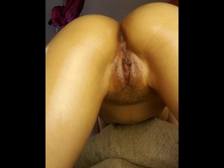 Underneath doggy. She can't handle the cock.