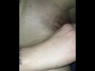 quickly before bed and cum on her belly