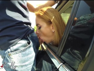 Amateur risky blowjob cum swallow in a big street