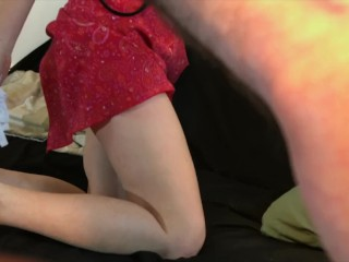 Stepsister creampied whilst speaking at the telephone