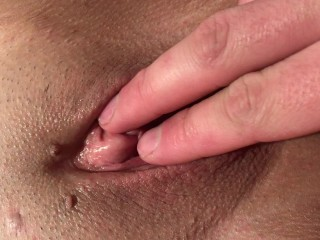 Playing with my wife's tight pink wet pussy