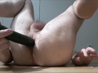 Straight hairy guy fucked deep by zucchini - anal gaping, moaning, ecstatic