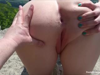 Public Fuck and Creampie! Risky Trail Clifftop Sex