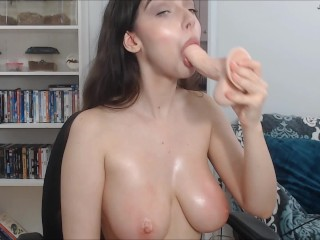 Webcam/blowjob sloppy deepthroat on cam