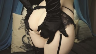 Dildo Riding In Ripped Stockings