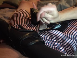 Dirty talking MILF in heels rubs his cock and begs him to cum on her