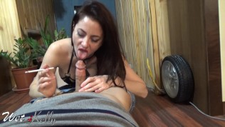 Face sitting and blowjob smoking with big load in mouth