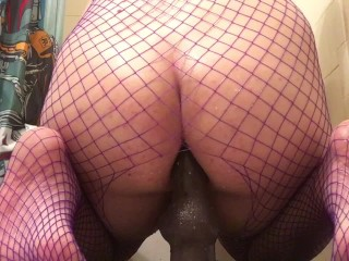 Chubby Pup Plays With Dildo While Wearing Fishnets Soaked In Baby Oil